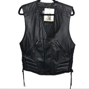 Vintage Harley Davidson Black Leather Vest